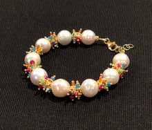 Load image into Gallery viewer, Baroque Pearl Bracelet with Rainbow Clusters