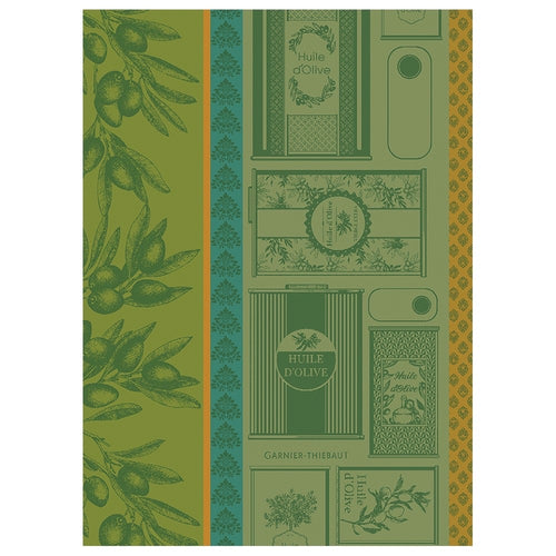 Garnier-Thiebaut French Country Kitchen Dish Towel Huile D'Olives Vert