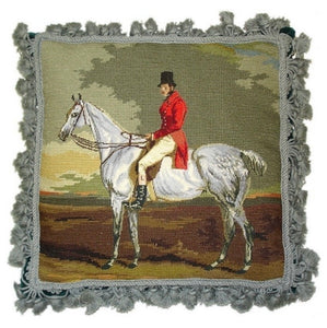 "Equestrian Horse and Rider Petit Point/Needlepoint Pillow 16"" x 16"""