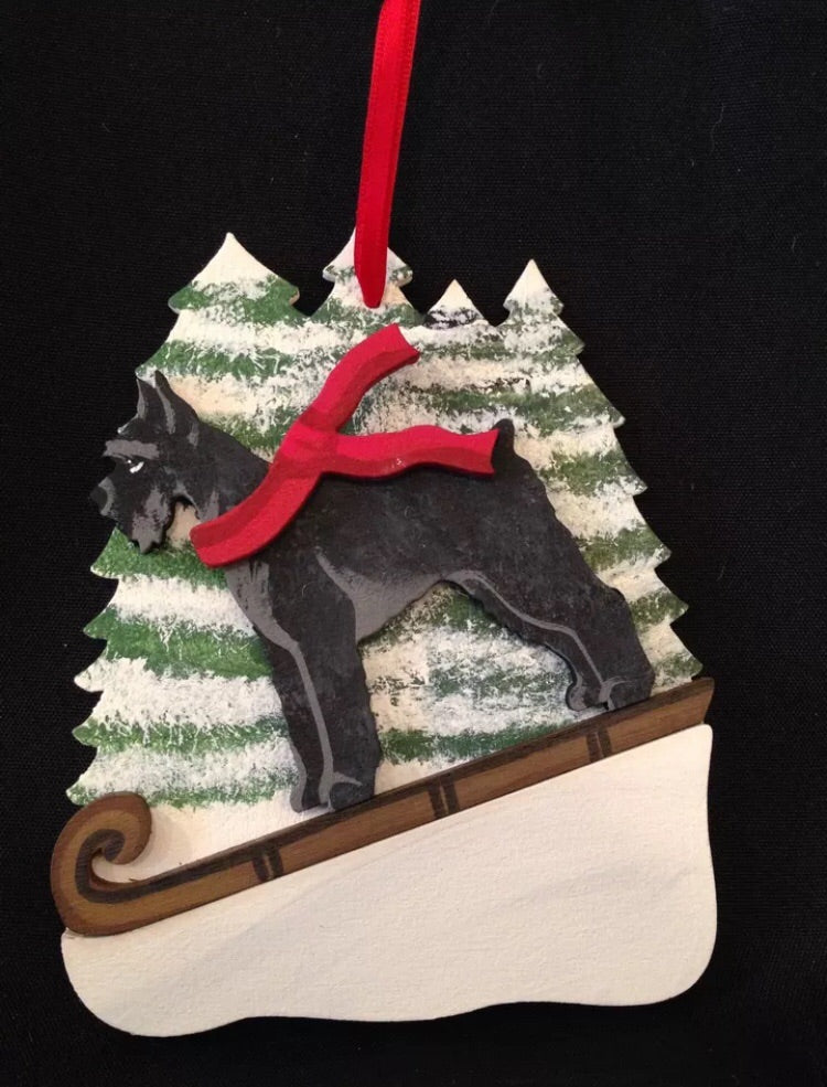 Black Schnauzer Dog Wooden Ornament Made in USA