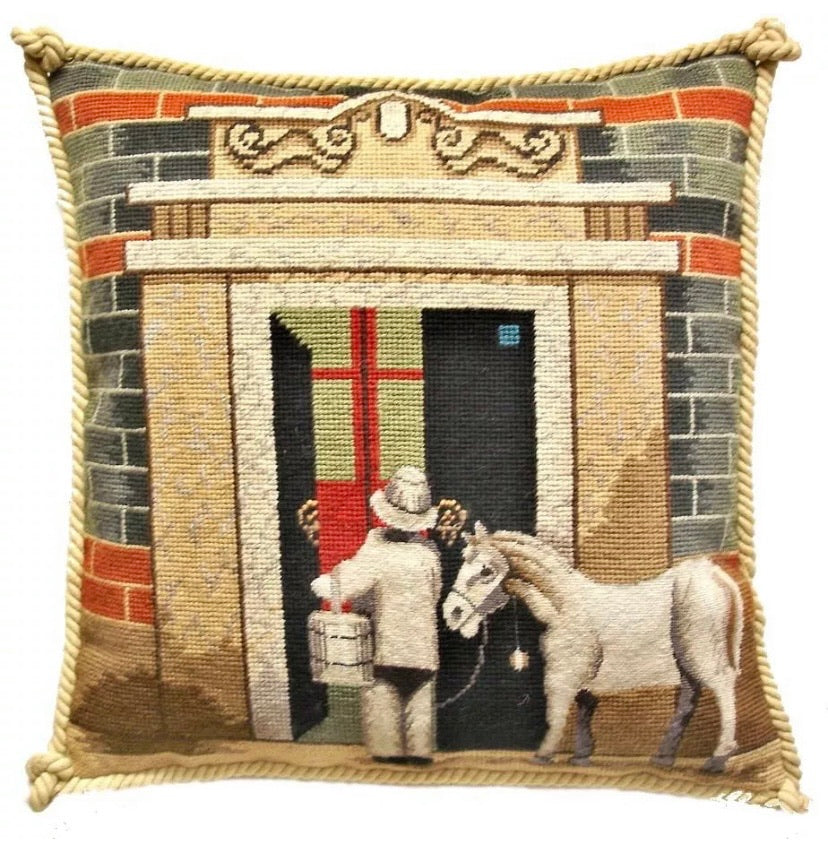 "Shanghai Shi Ku Men (Horse) Needlepoint/Petit Point Pillow 16""x16"""