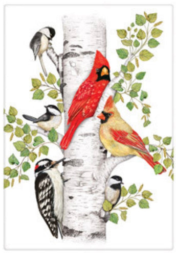 Flour Sack Kitchen Dish Towel Birch Birds Spring Mary Lake - Thompson