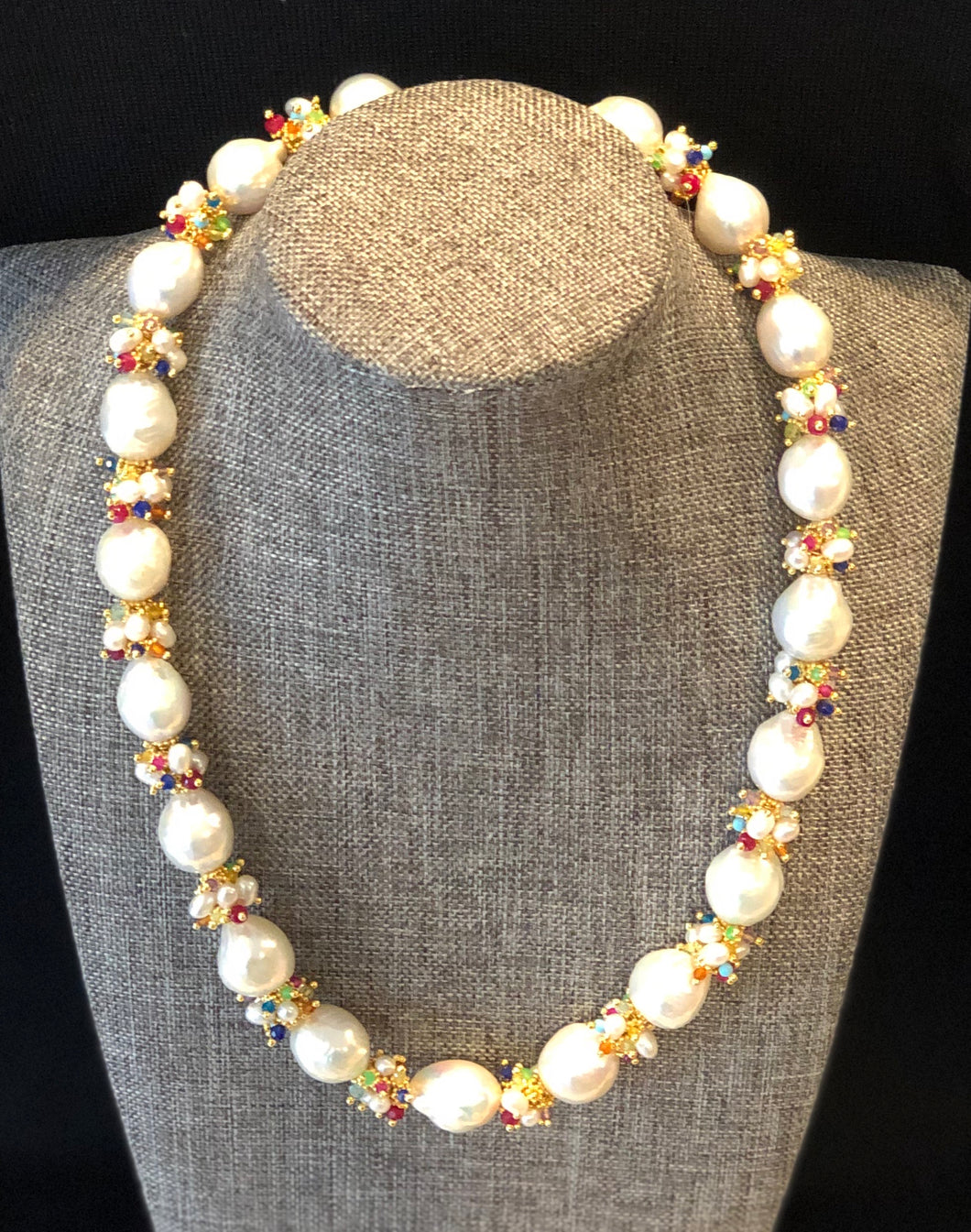 Baroque Pearl Necklace with Rainbow Clusters