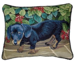 "Black Dachshund Needlepoint Pillow 14""x18"" NWT"