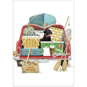 "Flour Sack Kitchen Dish Towel ""Red Truck Camping"