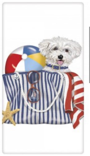 Flour Sack Kitchen Dish Towel Bichon Beach Mary Lake - Thompson