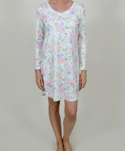 Floral 100% Pima Cotton Nightshirt Adult Size Small