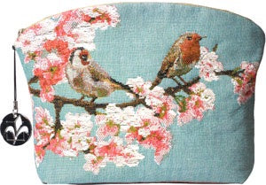 Birds on Branch Blue Tapestry Purse/Jewelry Bag/Cosmetic Bag