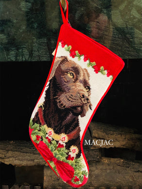 Chocolate Lab/Labrador Retriever Dog Needlepoint Christmas Stocking