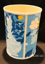 Load image into Gallery viewer, Blue Pug Fabric Covered Wastebasket