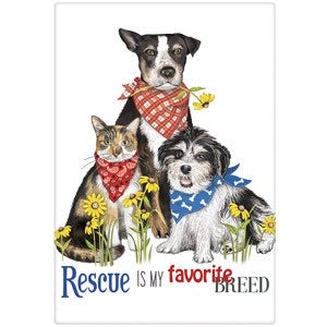 "Flour Sack Kitchen Dish Towel ""Everyday Rescue Pets"" Mary Lake Thompson"