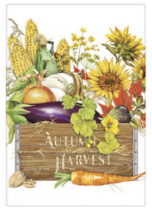Flour Sack Kitchen Dish Towel Autumn Harvest Crate Mary Lake - Thompson