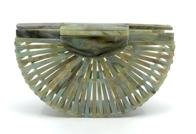Green/Gold Marble Polished Resin Open Weave Clutch Purse/W Chain