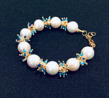 Load image into Gallery viewer, Baroque Pearl Bracelet with Blue Clusters