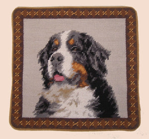 "Bernese Mountain Dog Needlepoint Pillow 10""x10"""
