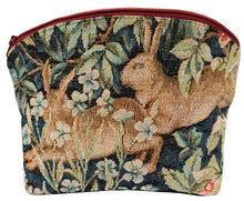 Load image into Gallery viewer, 2 Hares/Rabbits in a Forest Tapestry Purse/Jewelry Bag/Cosmetic Bag