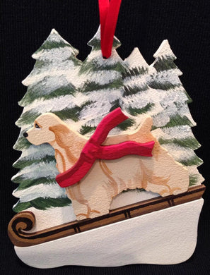 Buff Cocker Spaniel Dog Wooden Ornament Made in USA