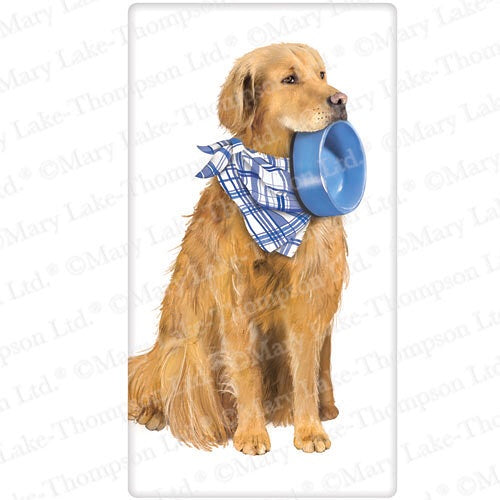 Flour Sack Kitchen Dish Towel Dog Golden with Bowl Mary Lake - Thompson