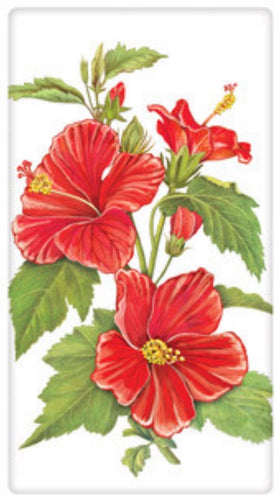 Flour Sack Kitchen Dish Towel Red Hibiscus Mary Lake - Thompson