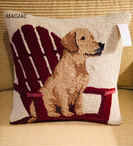 "Golden Retriever 16"" Sq. Wool Hooked Pillow"