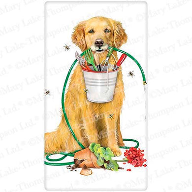 Flour Sack Kitchen Dish Towel Garden Retriever Mary Lake - Thompson