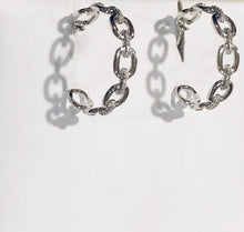 Load image into Gallery viewer, Sterling Silver Hoop Pierced Earrings with CZ's