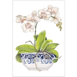 "Flour Sack Kitchen Dish Towel ""Orchid Bowl"" Mary Lake Thompson"