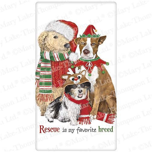 Flour Sack Kitchen Dish Towel Holiday Rescue Pets Mary Lake - Thompson