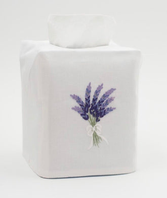 Lavender Tissue Box Cover - White Cotton