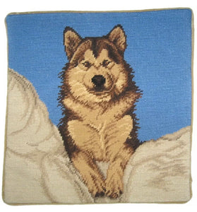 "Brown Husky Needlepoint Pillow 15"" x 15"""