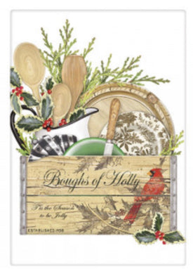 Flour Sack Kitchen Dish Towel Holly Crate Mary Lake - Thompson