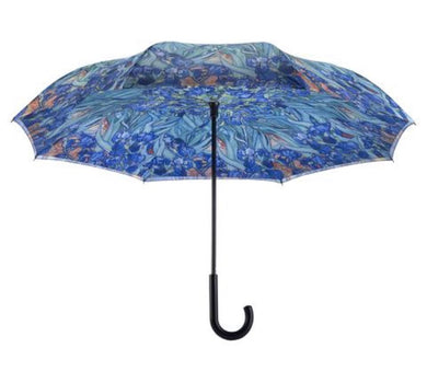 Galleria Van Gogh Irises Stick Umbrella Reverse Close