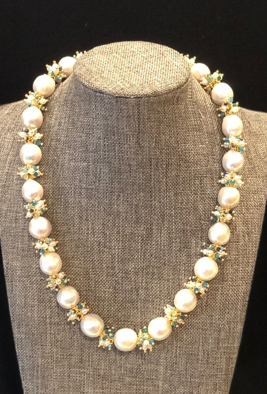 Baroque Pearl Necklace with Blue Clusters