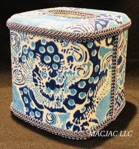 Blue Dragon Fabric Covered Tissue Box Cover
