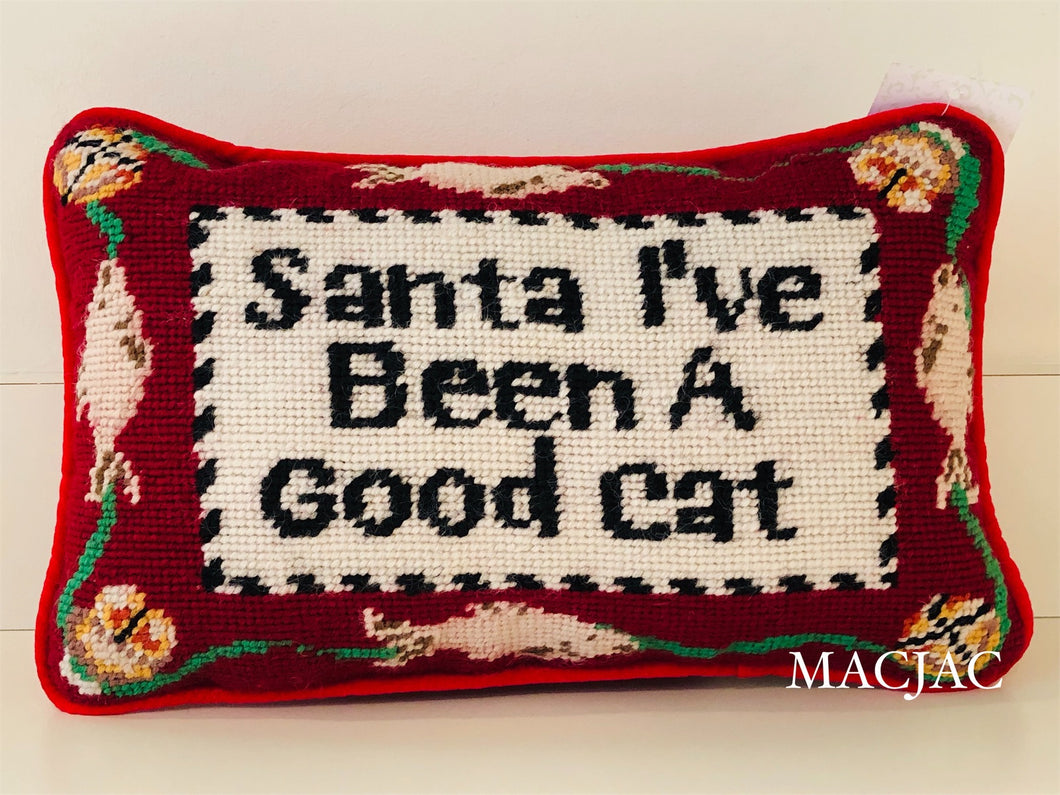 "Santa I've Been A Good Cat 8""x12"" Needlepoint Pillow"