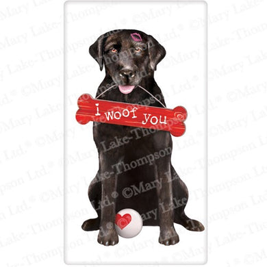 Flour Sack Kitchen Dish Towel Dog Valentines Black Lab Mary Lake - Thompson