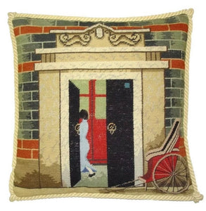 "Shanghai Shi Ku Men (Cart) Needlepoint/Petit Point Pillow 16""x16"""
