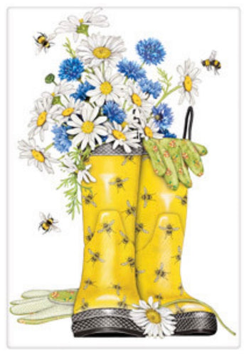 Flour Sack Kitchen Dish Towel Daisy Rainboots Mary Lake - Thompson