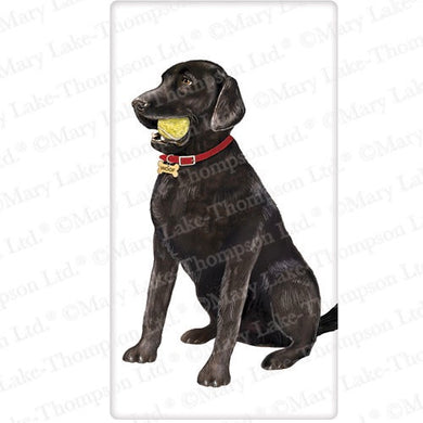 Flour Sack Kitchen Dish Towel Dog Black Lab With Ball Mary Lake - Thompson