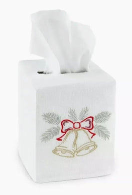 Sferra Christmas Holiday Bells Tissue Box Cover