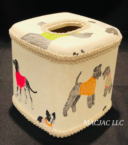 Dogs On Parade Fabric Covered Tissue Box Cover