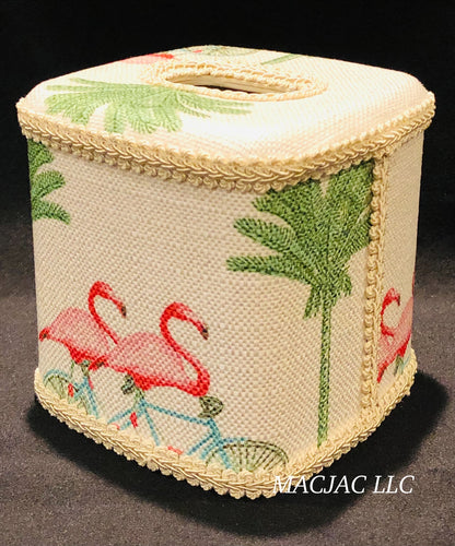 Bike Flamingo Fabric Covered Tissue Box Cover