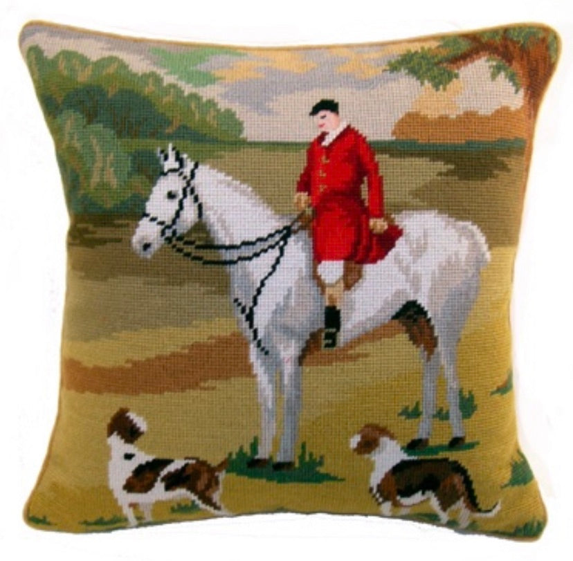"Equestrian Fox Hunting 16""x16"" Needlepoint Pillow"
