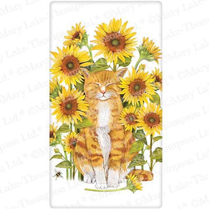 Flour Sack Kitchen Dish Towel Cat Sunflowers Mary Lake - Thompson