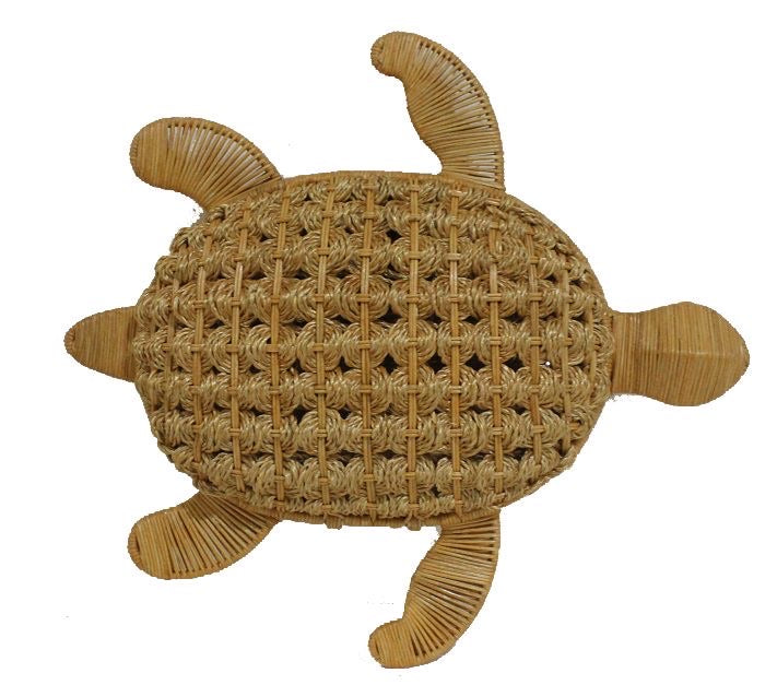 Serpui Tracy Turtle Wicker Purse