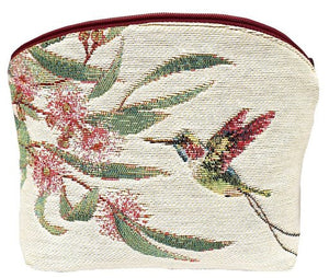 Big Eucalyptus Flower with Hummingbird White Purse