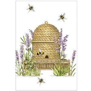 "Flour Sack Kitchen Dish Towel ""Lavender Beehive"" Mary Lake Thompson"