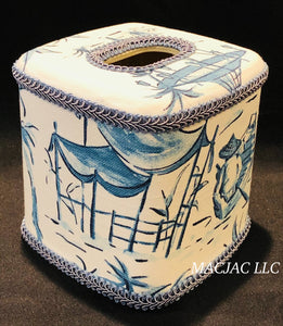 Blue Pagoda Fabric Covered Tissue Box Cover