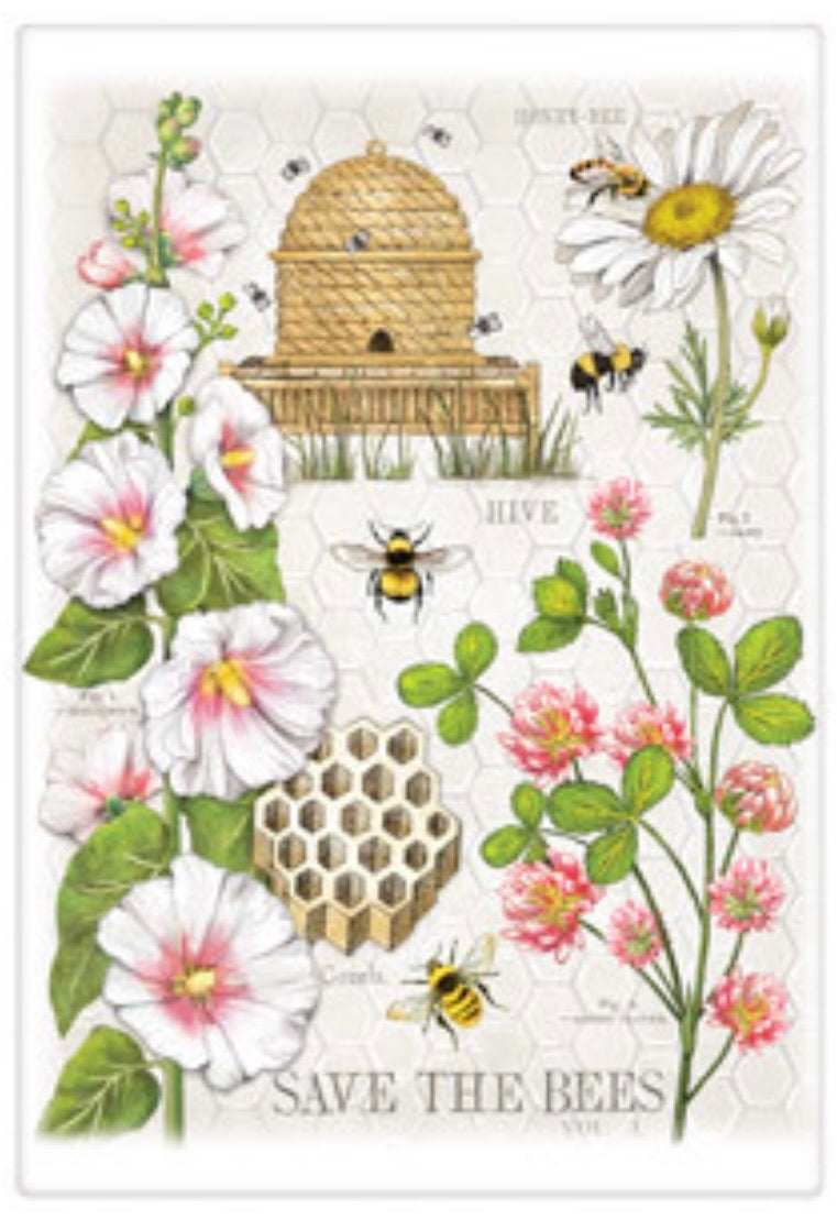 Flour Sack Kitchen Dish Towel Clover Beehive Mary Lake - Thompson