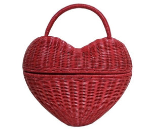Serpui Heart Wicker Purse